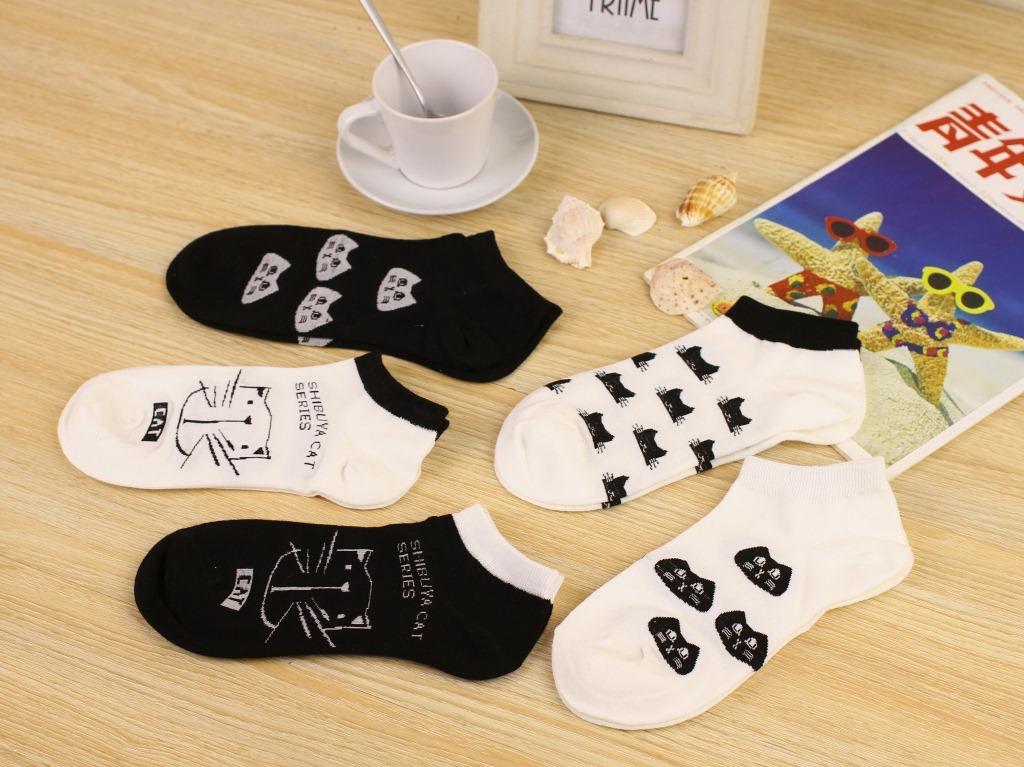 Sevimli 3D Karikatür Hayvan Kedi Çorap Desen Kadın Erkek Çocuklar Pamuk Çorap Kadın Çorap Moda Rahat Pamuk Kısa Çorap