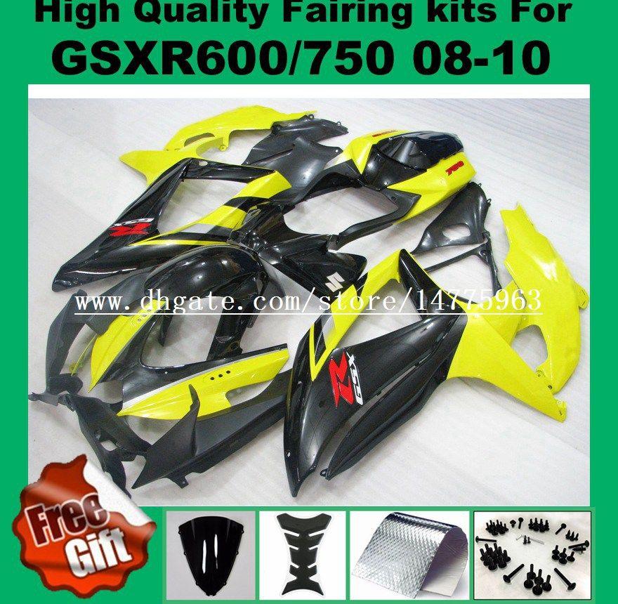 9Gifts Recintos para 2008 2009 SUZUKI GSXR600 GSXR750 2008 2009 2010 GSX-R600 GSX-R750 08 09 10 kits de carenagem de injeção pintados de amarelo blk