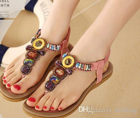 575f021c84fce 2016 Summer New Bohemia Style Shoes Fashion Women Casual Sandals Beaded  Brand Flat With Shoes For Lady Sandals For Men Jelly Sandals From Neideng