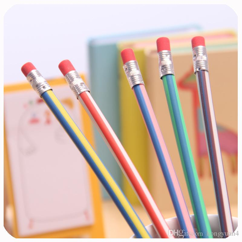 MAGIC Flexible Pencil Korea Cute Stationery Colorful Magic Bendy Flexible Soft Kids Students Pencil with Eraser Gifts School Office Use