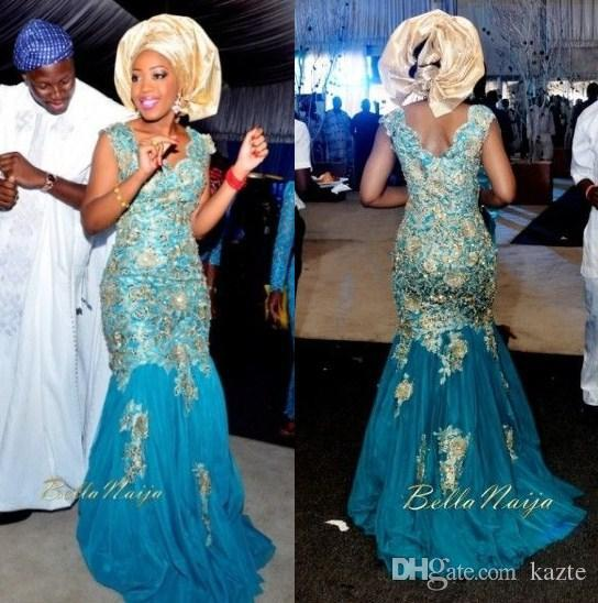 Sexy African Traditional Mermaid Wedding Dresses Turquoise Blue V Neck Gold Appliques Tulle Sweep Train 2017 Nigeria Bridal Gowns Long Sleeved