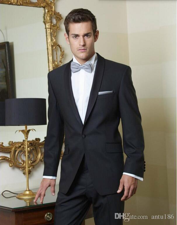 Özel yapılmış erkekler suits yakışıklı erkekler düğün takımları blacke yaka bir düğme damat takım elbise sağdıç suits ceket + pantolon
