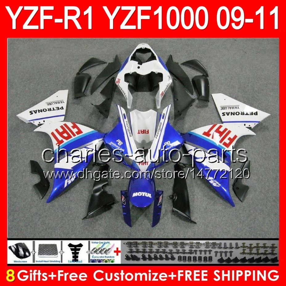gloss white 8gifts Body For YAMAHA YZFR1 09 10 11 YZF-R1 09-11 95NO73 YZF 1000 YZF R 1 YZF1000 YZF R1 2009 2010 2011 TOP white blue Fairing