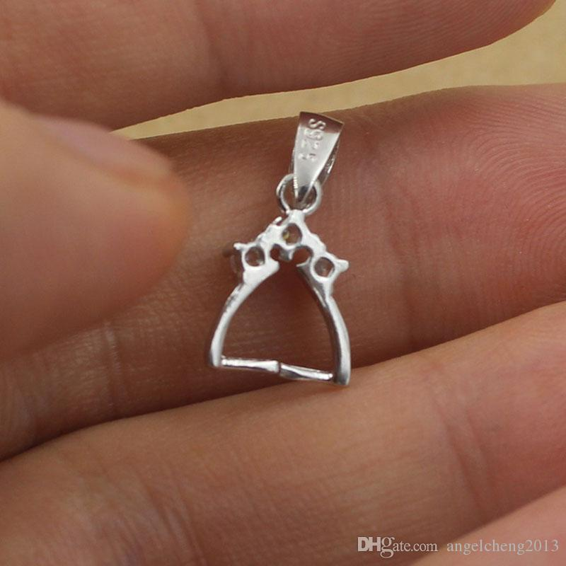 925 Sterling Silver Plain Bail Pendant Clasp Pinch With Clear Rhinestone Charm Connector Clasp Pendant / Findings / Bright