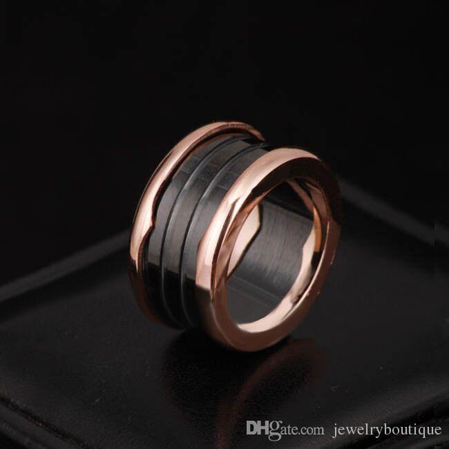 Markenname 316L Edelstahl Ringe mit Weiß und Schwarz Keramik in Rotgold überzogene Frauen und Männer Ringe Mode Hochzeit Schmuck PS5485