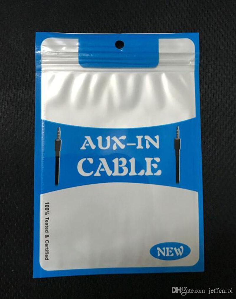 Sıcak 10cm * 15cm mavi kırmızı fermuarlı çanta asmak delik fermuarlı plastik perakende ambalaj poli çanta 1m 1.5m 2m ses aux kablosu