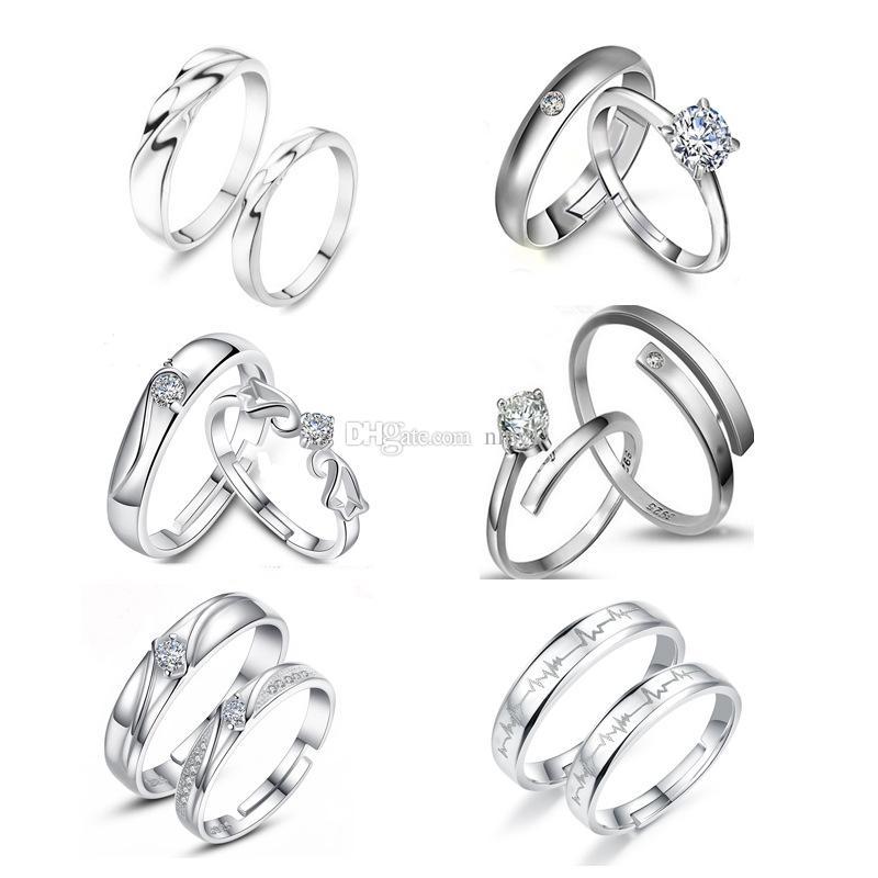 Banhado A prata Anéis Casal Para As Mulheres bijoux Moda Jóias De Casamento De Cristal anel masculino Casal Anéis Para Os Amantes