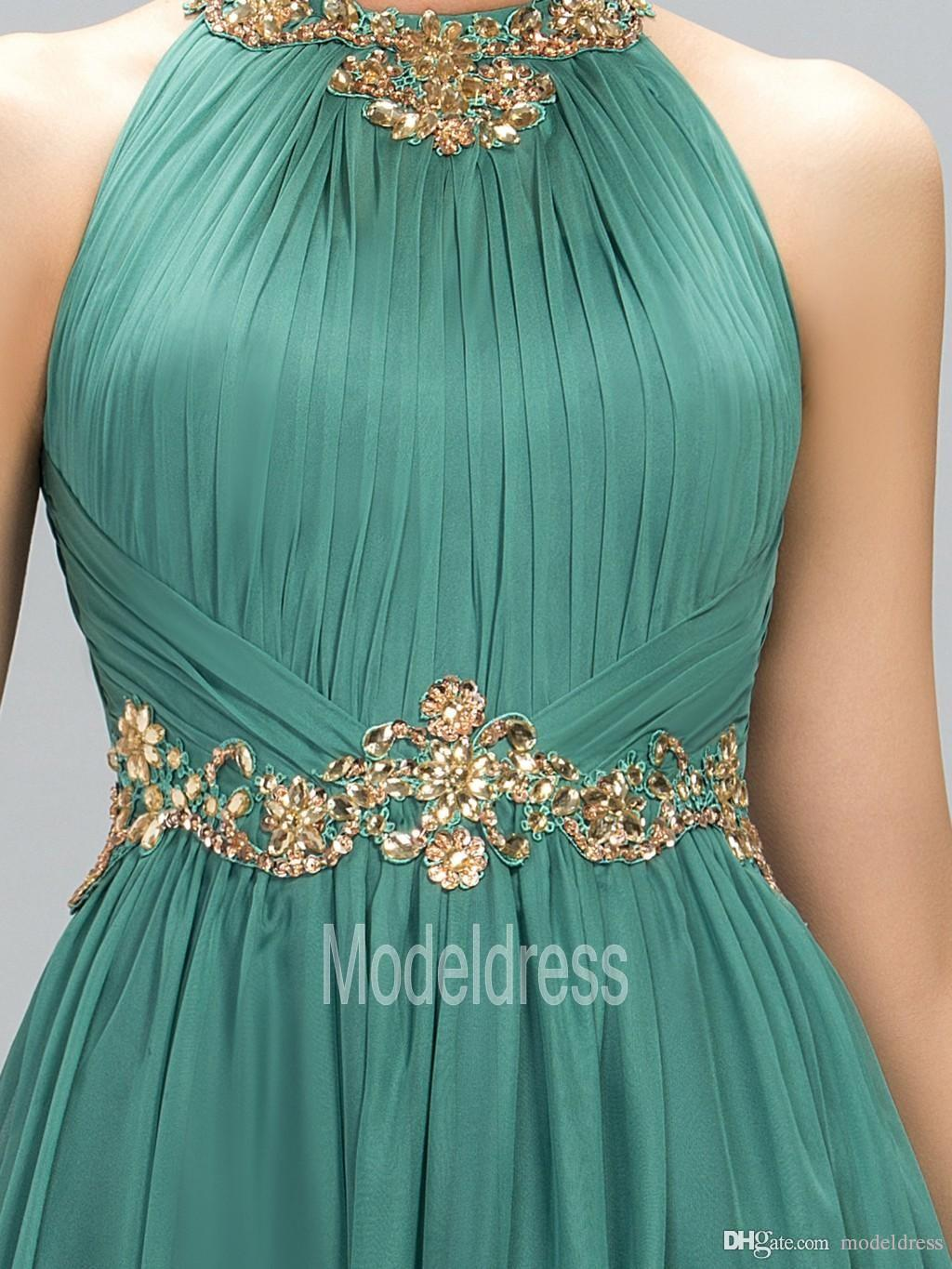 2020 New Green Prom Dresses Halter Crystal Beads Ruffles A Line Long Modest Formal Evening Party Pageant Woman Gowns Cheap Custom Made