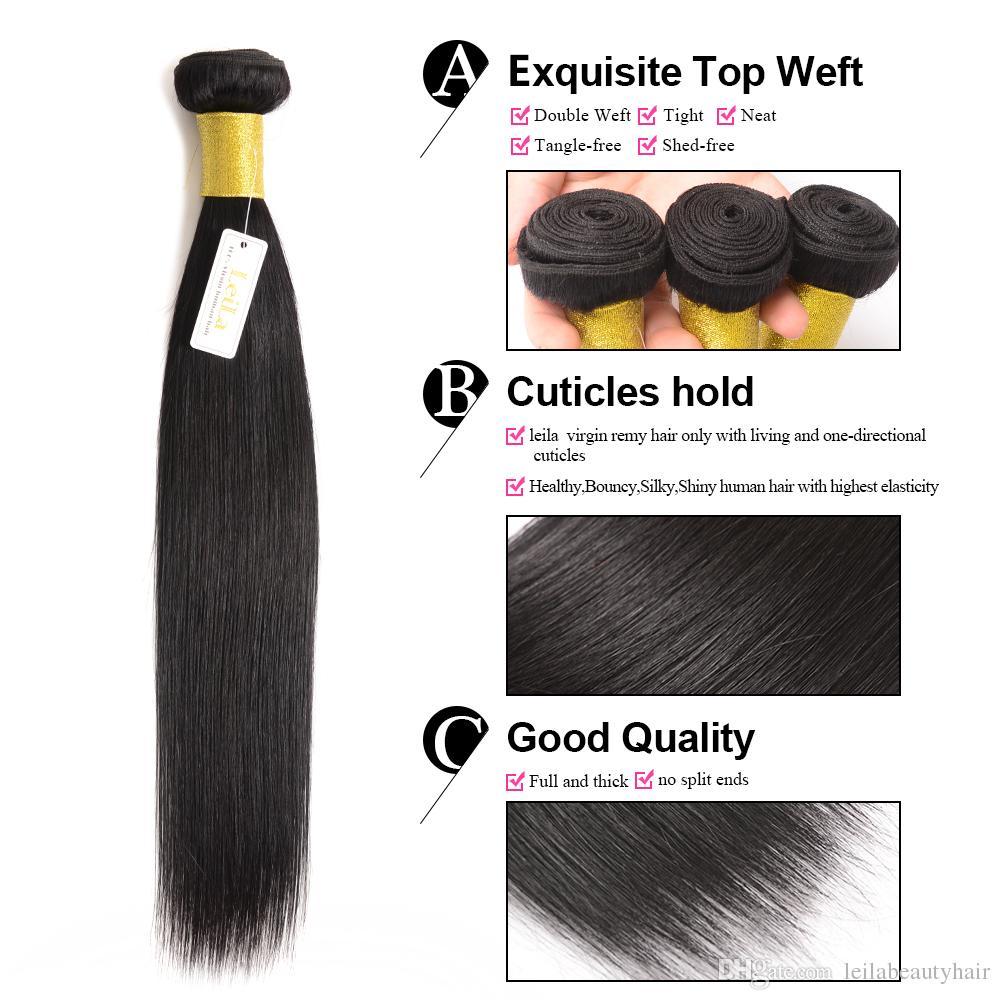 Malaysianes glattes Haar für Schönheit 4 Bündel mit Spitzenverschluss seidig unverarbeitete menschliche Haare / für volles haare