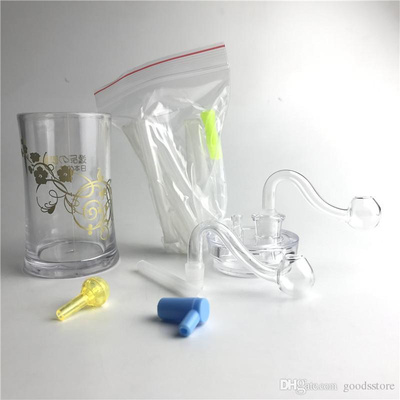 Neue 4,5 Zoll Kunststoff Ölbrenner Bong Wasserleitungen mit 10mm Männlichen Dicken Pyrexglas Ölbrenner Rohr Silikonschlauch für Rauchen
