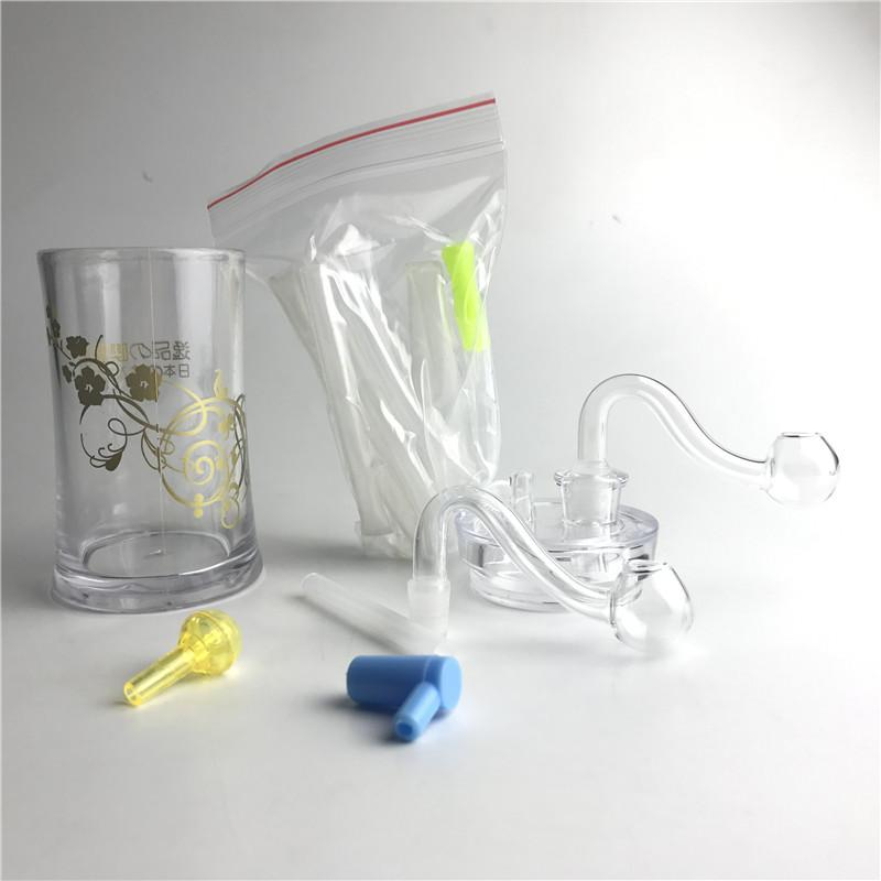 New 4.5 Inch Plastic Oil Burner Bong Water Pipes with 10mm Male Thick Pyrex Glass Oil Burner Pipe Silicone Tube for Smoking