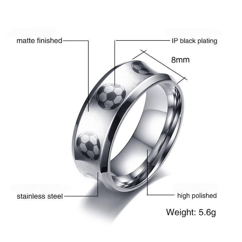 Personality high polished classic titanium steel men's ring American football /soccer ring titanium man ring for football club/ fans /team