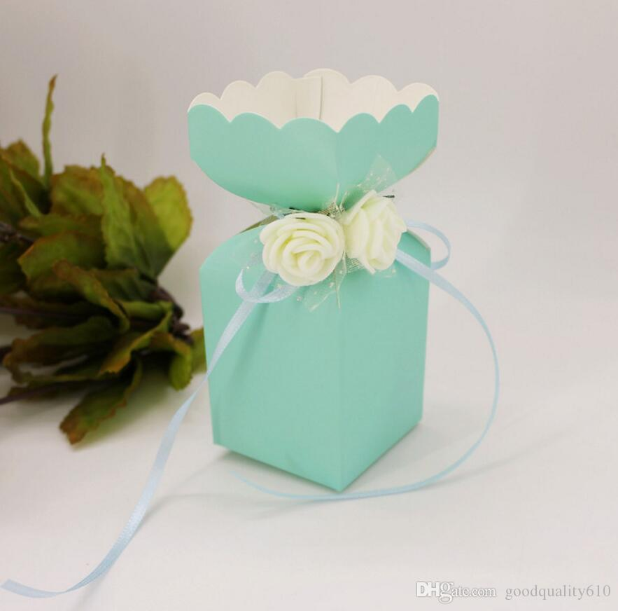 100 adet 12 * 5 * 5 cm PE Gül Çiçek Şeker Kutusu Çikolata Kutuları Için Kurdele Ile Düğün Parti Bebek Duş Iyilik Hediye