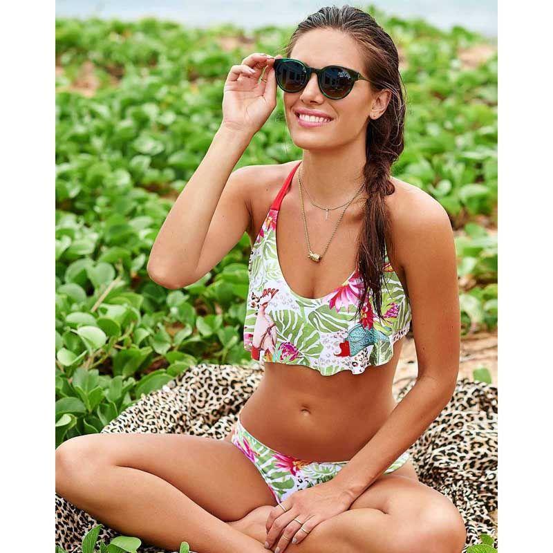 2017 nuevas llegadas borla bikini verano playa flores imprimir traje de baño mujeres bikini dama de calidad superior HOT Slim Bottom Tankini Swimwear es