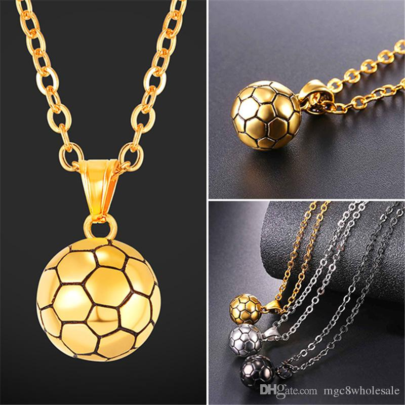 Wholesale u7 footballsoccerbasketball pendants necklace ball wholesale u7 footballsoccerbasketball pendants necklace ball enamel jewelry sports fashion gold plated stainless steel chain men bijoux gp2557 long mozeypictures Image collections