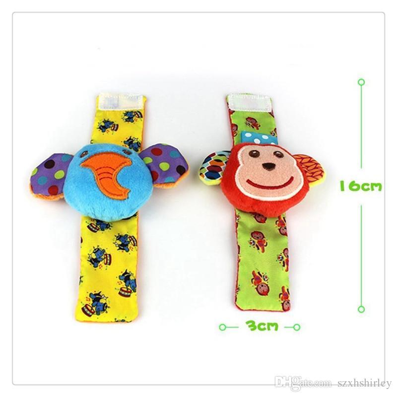 Boby Roupas Meias Animais Bebê Chocalhos De Pulso Pé Localizador Brinquedos Do Bebê Meias Conjunto de Desenvolvimento Macio Brinquedos Macaco e Elefante Para Meias Do Bebê