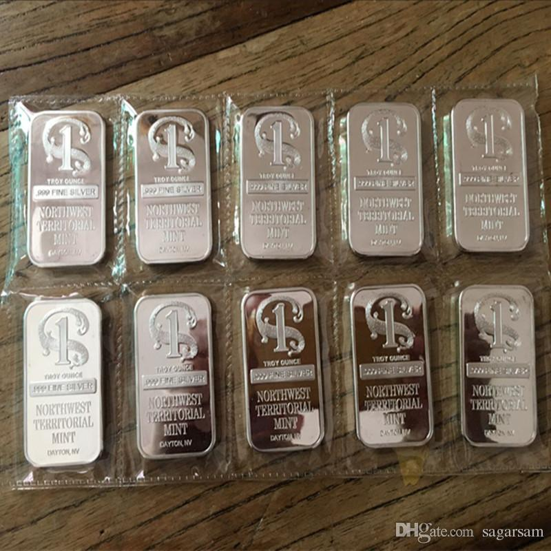 Non magnetic One Oz Real Silver Plated Replica Northwest Number one Bullion Bar Coin 50 x 28 mm Vacuum plastic package without box