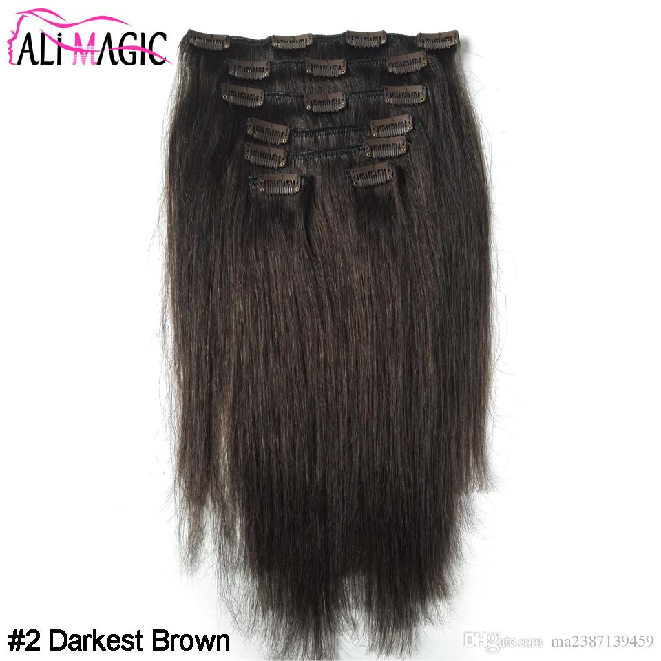 Unprocessed Virgin Indian Hair Clip Ins In Human Hair Extensions