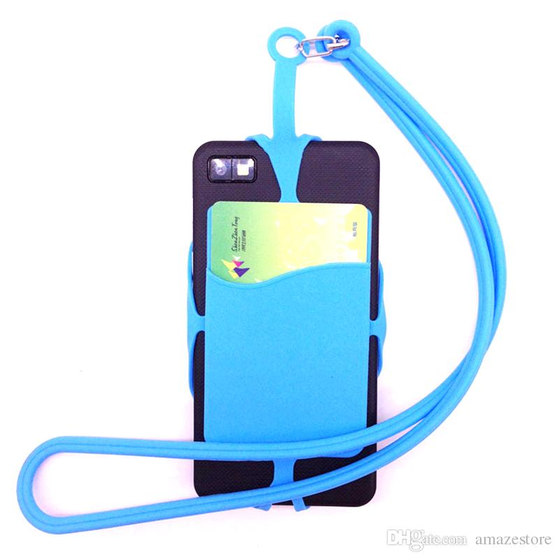 Universal Mobile Hybrid Case Soft Silicone Case with Long Lanyard Strap Pounch Card Holder for Black Berry Smart Phone