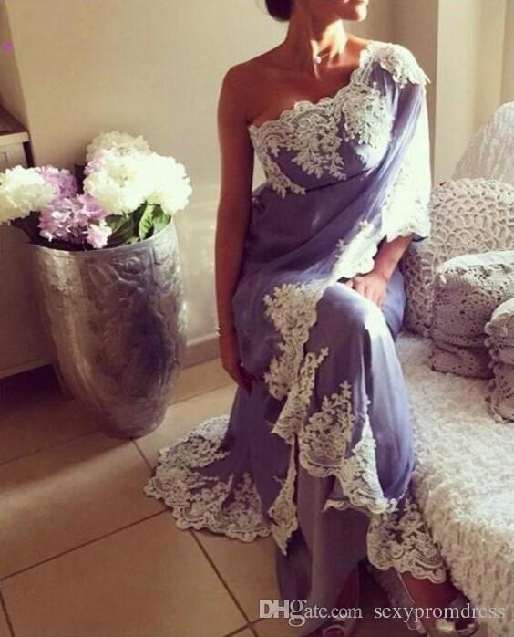 Lavender Chiffon One Shoulder Evening Gowns With White Lace Applique Saudi Arabic Simple Design Prom Dresses Women Formal Wear Cheap
