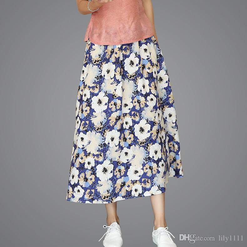 1dccac02e9 2019 Shanghai Story Blend Linen Long Skirt Spring Summer Skirts Chinese  Style Bohemian Skirts Casual Bandage Skirt Length 80cm From Lily1111, ...