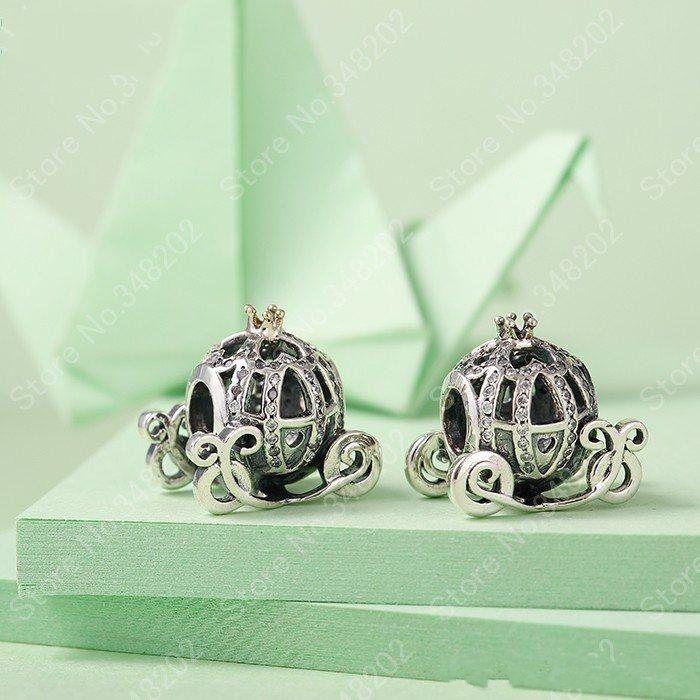 Authentique argent 925 Cendrillon Pumpkin Charm Perles plaqué or cristal strass citrouille Perle Pandora Bracelets Fits bricolage Bijoux