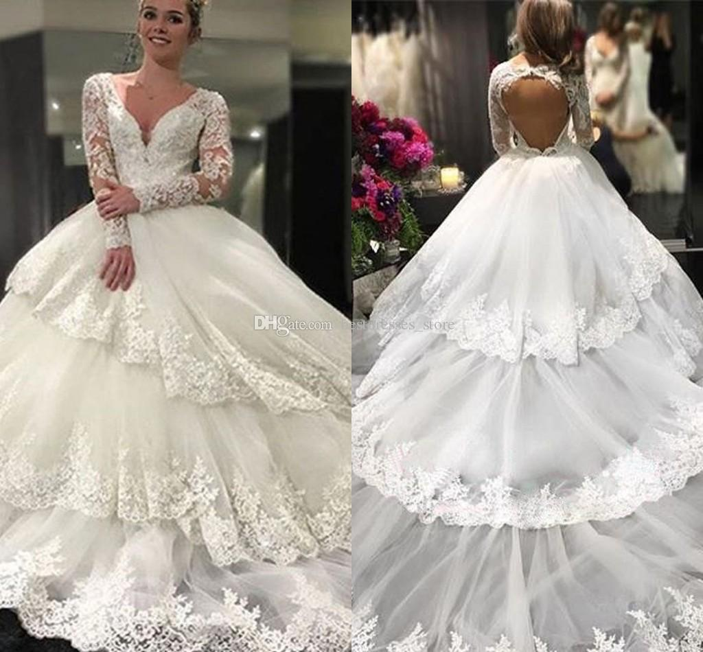 High Fashion Long Sleeve Wedding Dresses Ball Gown Lace V