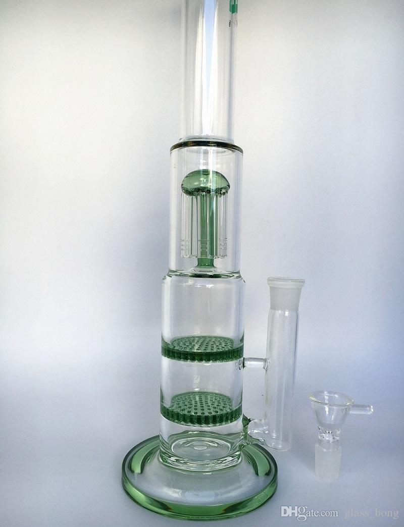 Ucuz 42 cm uzun boylu cam bong kol ağacı percolator ve deb teçhizat 2 petek bongs cam nargile 18mm ortak boyutu ücretsiz kargo