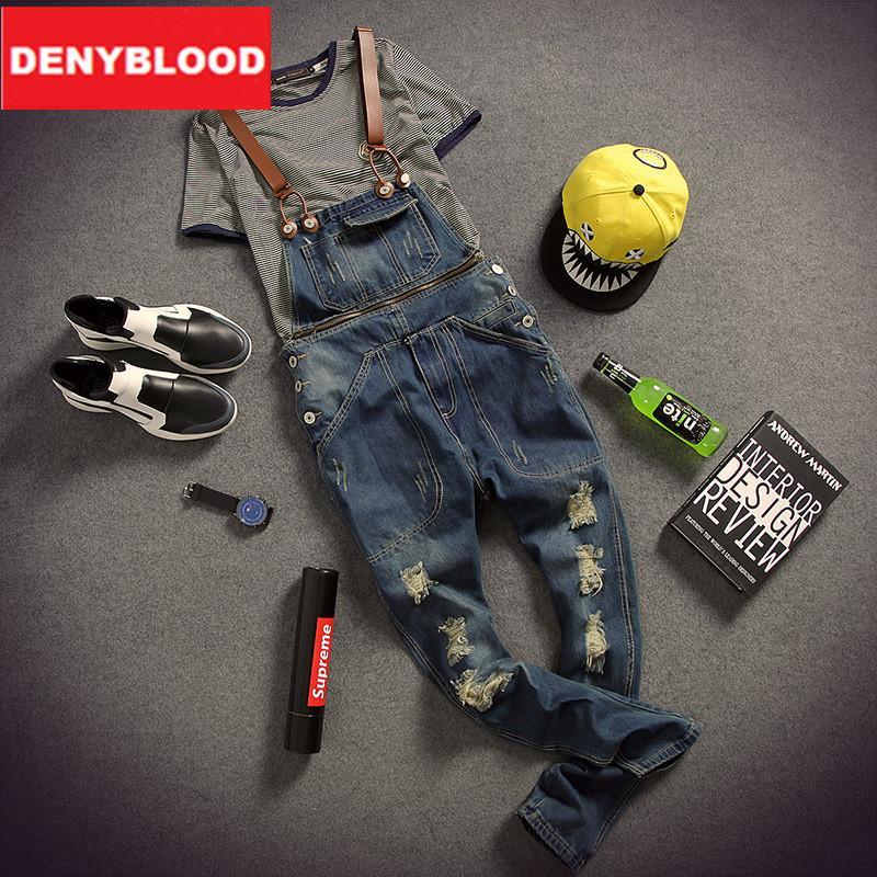 327bc3d4fdce Wholesale-Mens Distressed Jeans Ripped Jumpsuit Denim Overalls Men ...