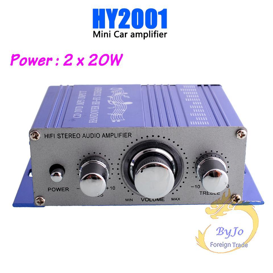 HY2001 Mini Amplificador Auto Car Stereo Amplificador de potencia HiFi Audio CD DVD MP3 Durable reproductor de Coche Amplificador de Potencia