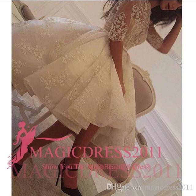 Gorgeous White Short Cocktail Party Kleider mit Halbarm 2016 A-Line Juwel Illusion Mieder Knie-Länge Abend Celebrity Party Kleider