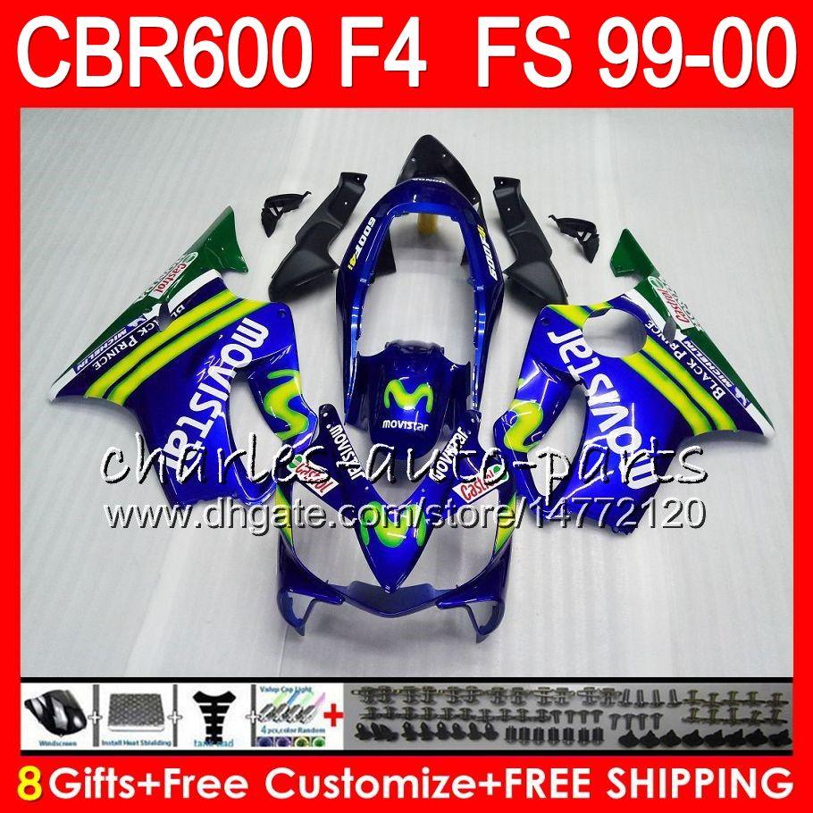 8 선물 23 혼다 차체 용 혼다 CBR 600 F4 99-00 CBR600FS FS 30HM3 CBR600 F4 1999 2000 Movistar Blue CBR 600F4 CBR600F4 99 00 페어링 키트
