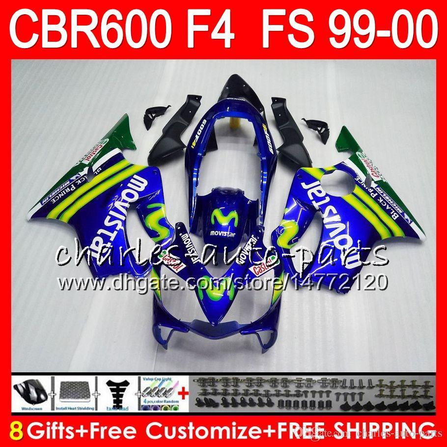 8Gifts Carrosserie Pour HONDA CBR 600 F4 99-00 CBR600FS FS 30HM3 CBR600 F4 1999 2000 Movistar Bleu CBR 600F4 CBR600F4 99 00 Kit De Carénage