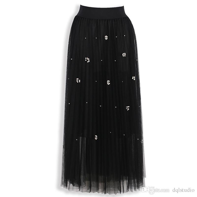 2017 Boho gonne delle donne vestiti di alta qualità morbido tulle con perline floreali elastico in vita a lungo Gonne nero, grigio, verde scuro a buon mercato