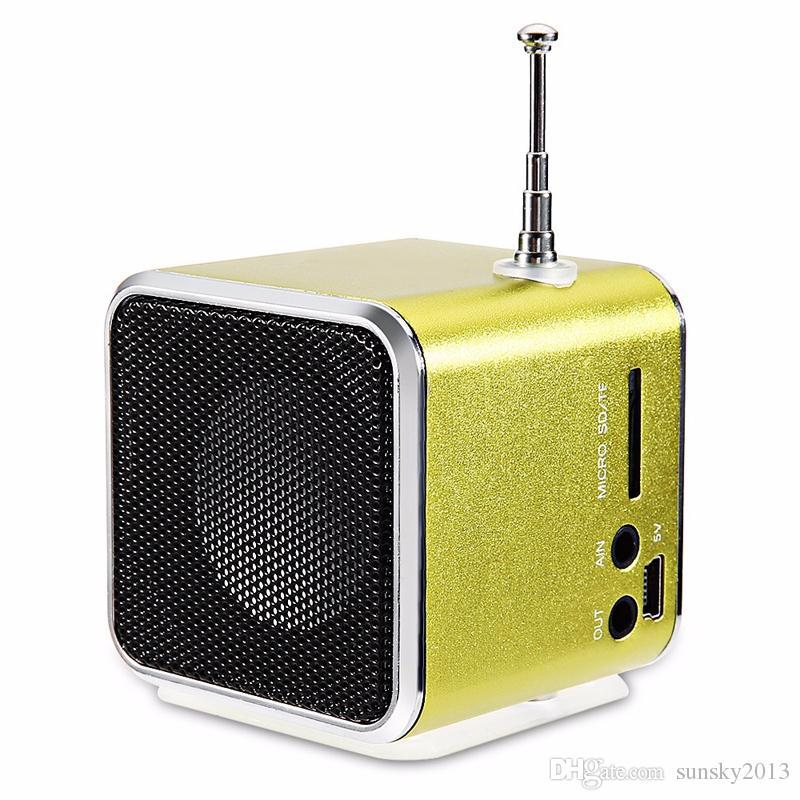 Mini altavoz portátil TD-V26 con antena FM Altavoz A / V Subwoofer HIFI Tarjeta TF Disco USB Caja de sonido digital Reproductor de música MP3 Pantalla LCD