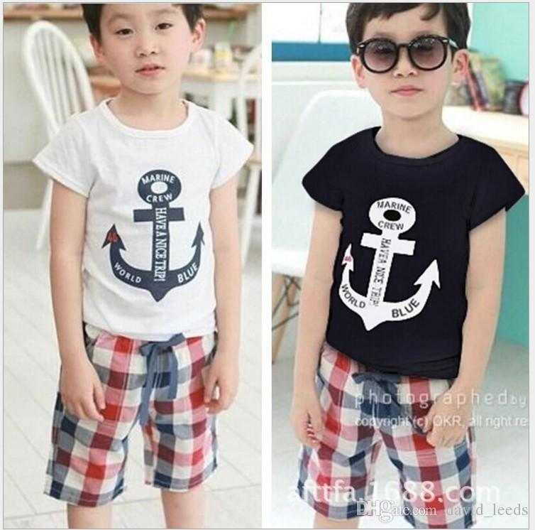 2017 New Summer Boys Navy Style Clothing Sets Children Short Sleeve T-shirt+Plaid Shorts Set Kids Casual Outfits Boy Suit 100-140cm