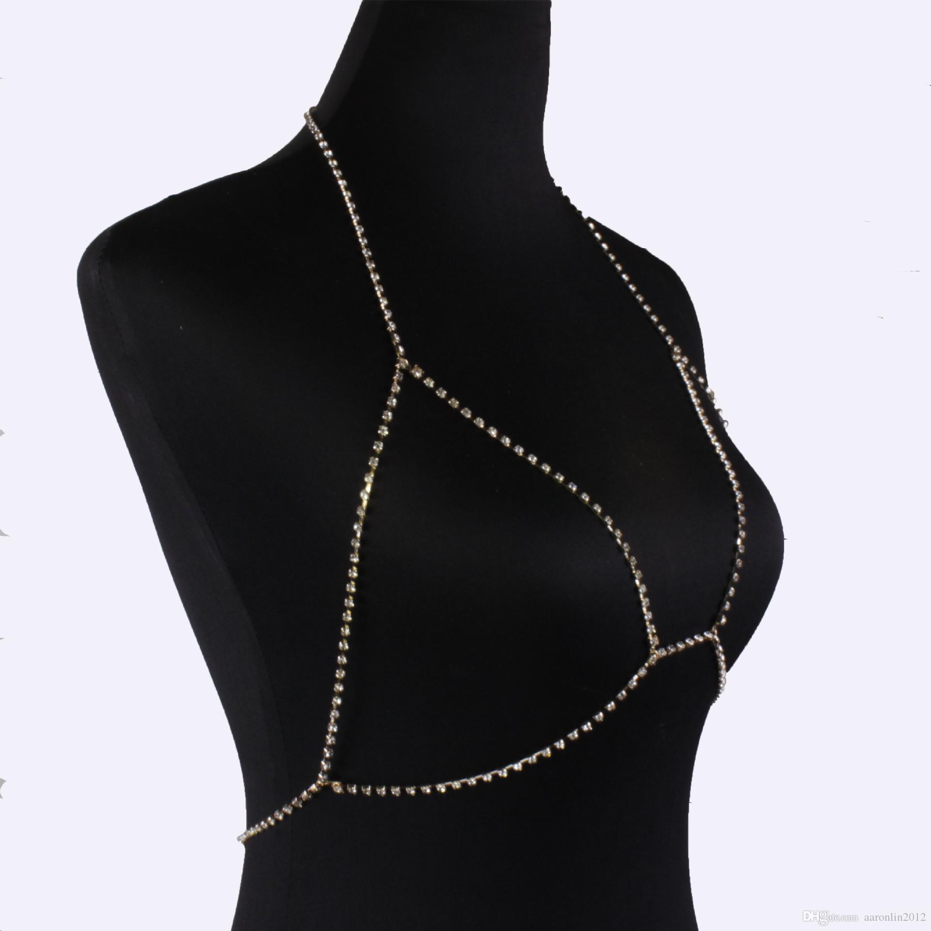 Mode marke klaue kristall bh slave harness körper kette frauen strass choker halskette anhänger bikini strand körperschmuck 2017