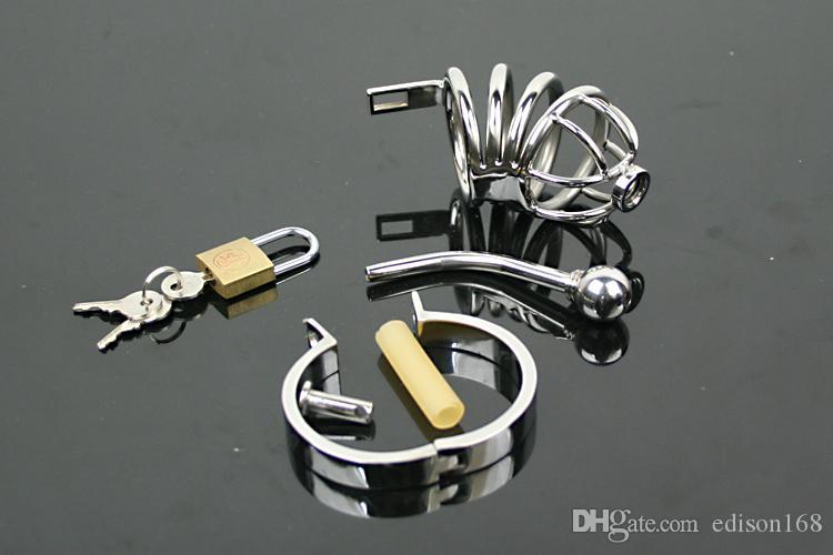 カテーテル純粋なベルト装置の最新の男性のステンレス鋼のボンデージコックペニスケージBDSMゲイフェチ大人の大人のおもちゃ製品A502