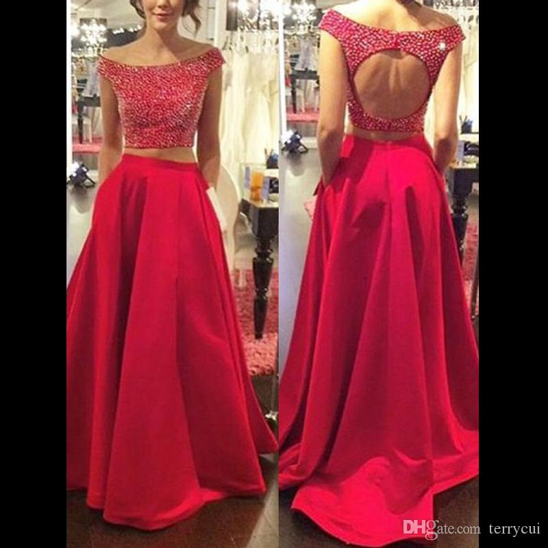 Red Tow Pieces Prom Dresses With Pocket Long O Neck Stain Beads ...
