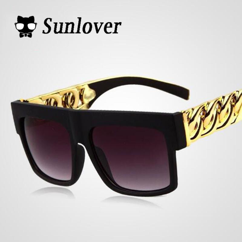 f1ad3e7ca76 Wholesale Kim Kardashian Beyonce Celebrities Metal Gold Chain Oversized  Shades Sunglasses Men  Women Brand Sun Glasses Eyewear Glasses Online  Polarized ...