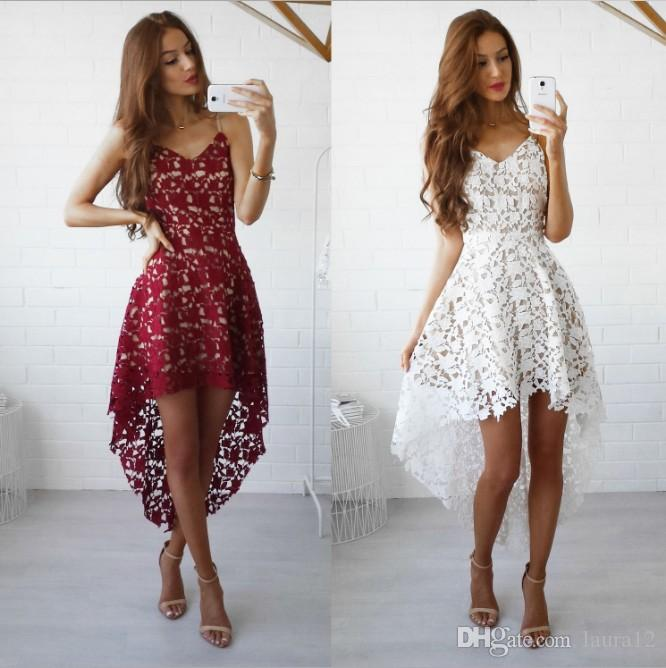 6c1c6cd346 Fashion Lace A Line Short Women Party Dresses 2017 Newest Spaghetti V Neck  Sleeveless Formal Lady Dresses Black White Burgundy Teen Party Dresses  Affordable ...