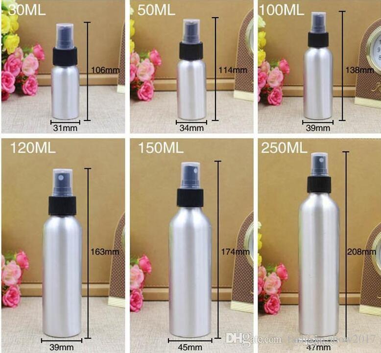 Alüminyum Sprey Şişesi Ince Sis Atomizatör Boş Parfüm Sprey Şişeleri Kozmetik Ambalaj Kabı 30/50/100/120/150/250 ml