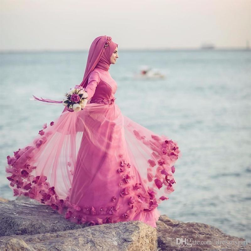 Turkish Traditional Formal Bridal Gowns Long Sleeve 3D Floral Beaded Muslim Wedding Dresses Islamic Kaftan Dubai Arabic Women Party Gown