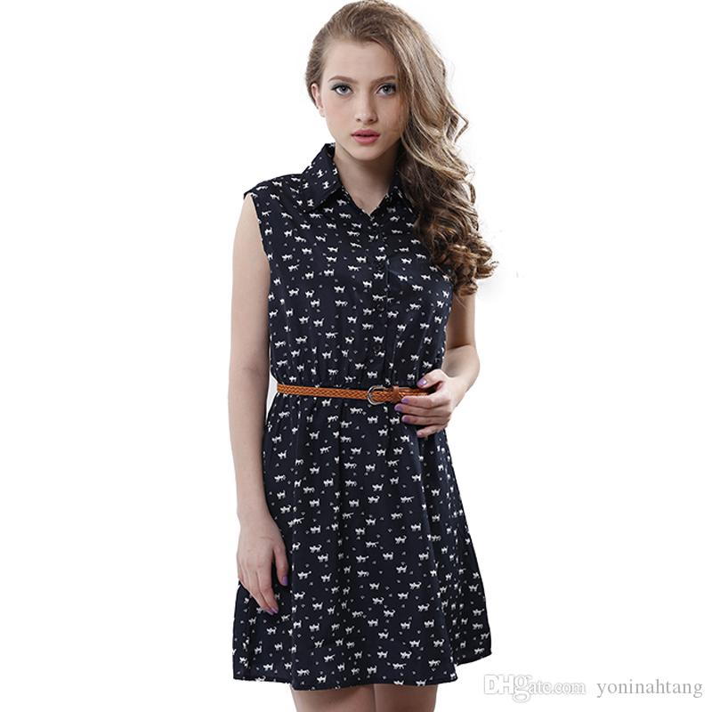 Wholesale Fun Orange summer fashion new women shirts dress Cat footprints pattern Show thin Shirt dress casual dresses with Be