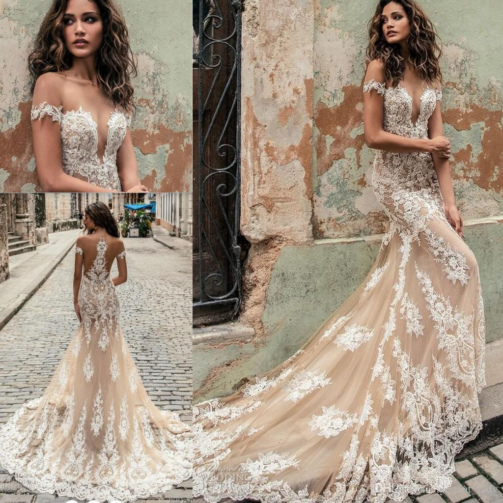 Julie Vino Champagne White Mermaid Wedding Dresses Modest