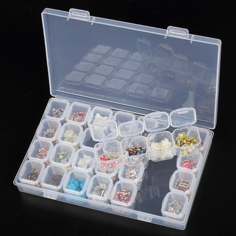 poudre paillette strass ongles stockage boîte cas contenant en plastique nail art accessoires