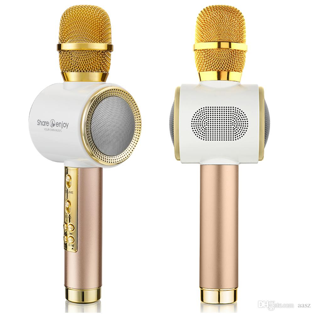 Q911 Mini Bluetooth Karaoke Player Wireless Condenser Microphone Dual  Speakers Singing Record for iOS Android Phones Computers
