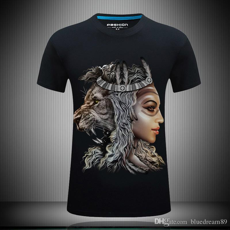 Personality funny t shirts for men 3d tee shirts lion printed summer casual t shirt rock band t shirts mens fashion designer clothing