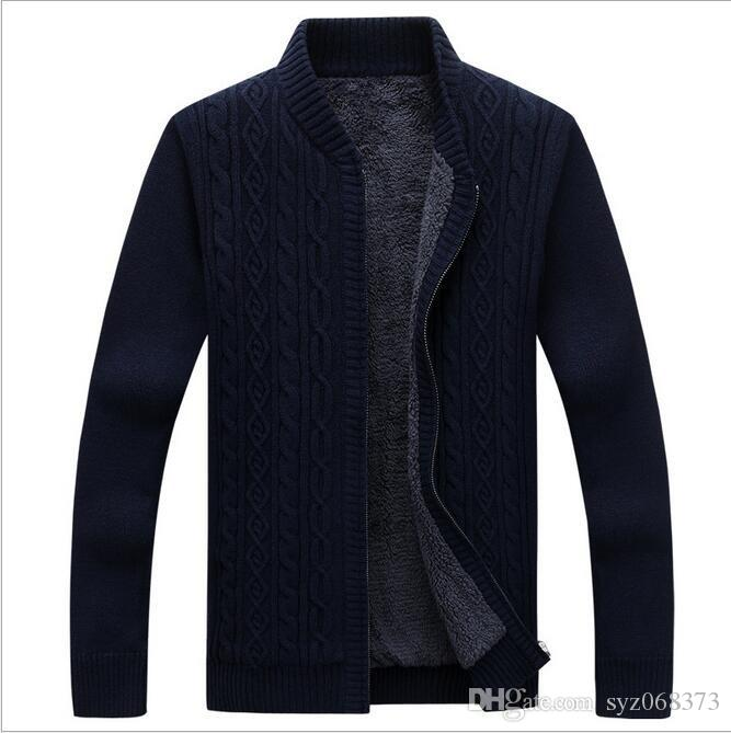 2018 Men Sweater Zipper Mens Cardigans Stand Collar Sweaters Thick ...
