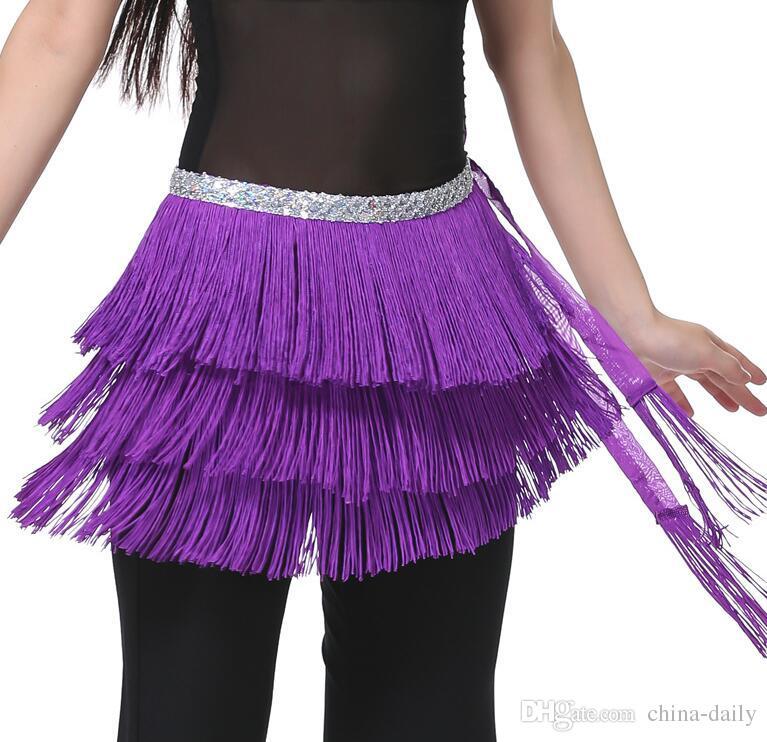 Livre EMS DHL cinto de dança do ventre 3 camadas franja borla cinto de dança do ventre cadeia lantejoulas hip cachecol das mulheres da barriga da cintura saia